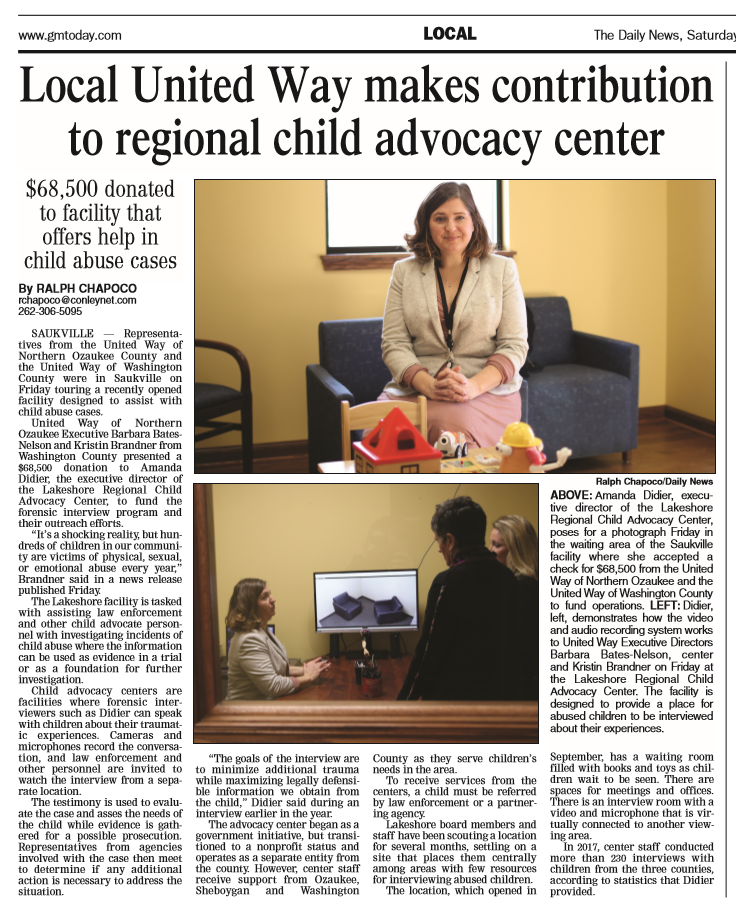 Local United Way Makes Contribution to Regional Child Advocacy Center